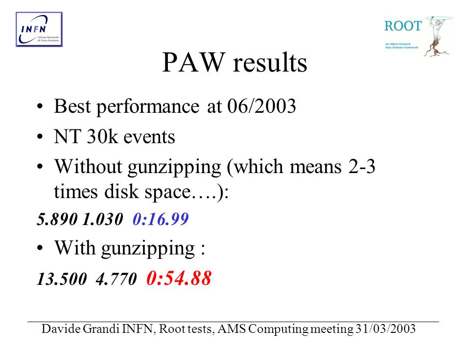 Davide Grandi INFN, Root tests, AMS Computing meeting 31/03/2003 PAW results Best performance at 06/2003 NT 30k events Without gunzipping (which means 2-3 times disk space….): 5.890 1.030 0:16.99 With gunzipping : 13.500 4.770 0:54.88