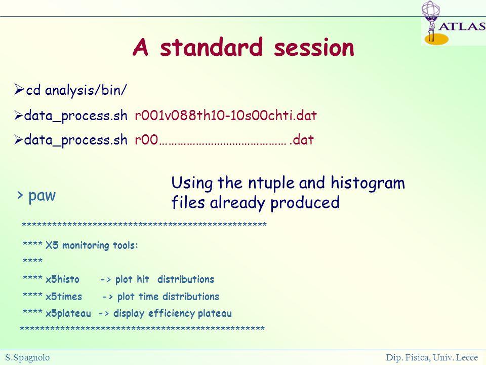 S.Spagnolo Dip. Fisica, Univ. Lecce cd analysis/bin/ data_process.sh r001v088th10-10s00chti.dat data_process.sh r00…………………………………….dat > paw **********