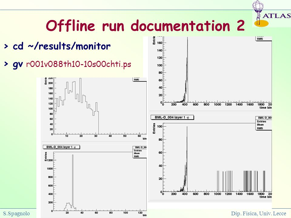 S.Spagnolo Dip. Fisica, Univ. Lecce Offline run documentation 2 > cd ~/results/monitor > gv r001v088th10-10s00chti.ps