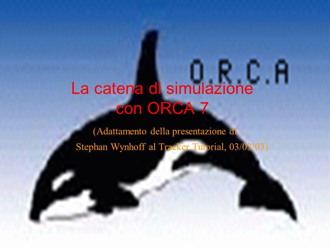 La catena di simulazione con ORCA 7 (Adattamento della presentazione di Stephan Wynhoff al Tracker Tutorial, 03/03/03)