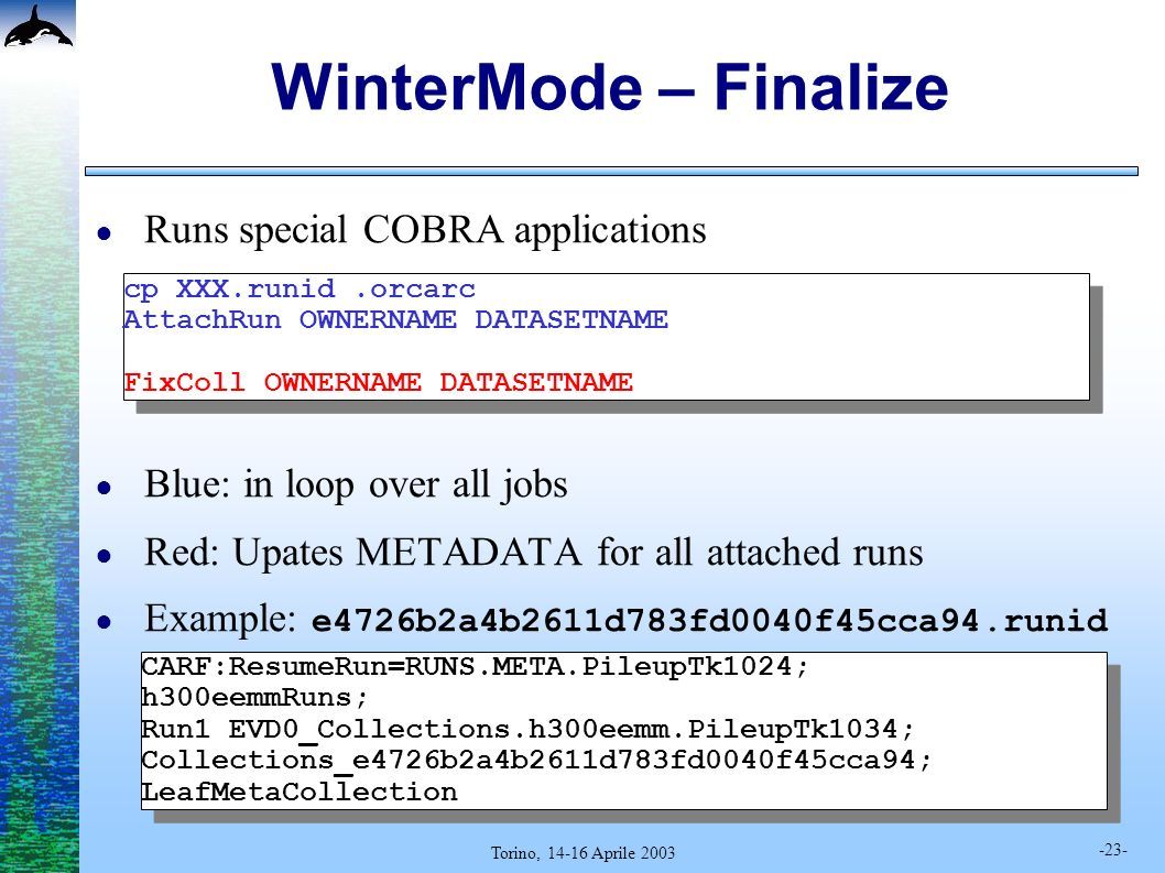 -23- Torino, 14-16 Aprile 2003 WinterMode – Finalize Runs special COBRA applications Blue: in loop over all jobs Red: Upates METADATA for all attached runs Example: e4726b2a4b2611d783fd0040f45cca94.runid cp XXX.runid.orcarc AttachRun OWNERNAME DATASETNAME FixColl OWNERNAME DATASETNAME cp XXX.runid.orcarc AttachRun OWNERNAME DATASETNAME FixColl OWNERNAME DATASETNAME CARF:ResumeRun=RUNS.META.PileupTk1024; h300eemmRuns; Run1 EVD0_Collections.h300eemm.PileupTk1034; Collections_e4726b2a4b2611d783fd0040f45cca94; LeafMetaCollection CARF:ResumeRun=RUNS.META.PileupTk1024; h300eemmRuns; Run1 EVD0_Collections.h300eemm.PileupTk1034; Collections_e4726b2a4b2611d783fd0040f45cca94; LeafMetaCollection