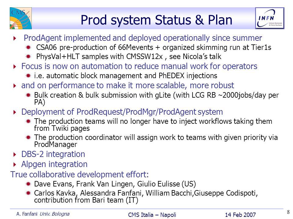 8 14 Feb 2007 CMS Italia – Napoli A. Fanfani Univ. Bologna Prod system Status & Plan ProdAgent implemented and deployed operationally since summer CSA