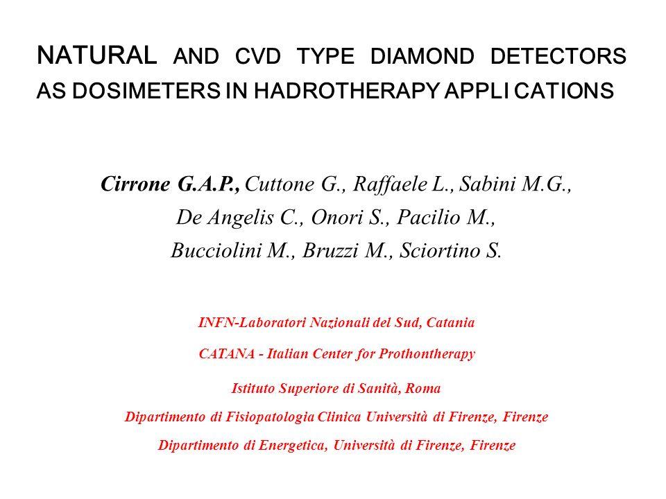 NATURAL AND CVD TYPE DIAMOND DETECTORS AS DOSIMETERS IN HADROTHERAPY APPLI CATIONS Cirrone G.A.P., Cuttone G., Raffaele L., Sabini M.G., De Angelis C.