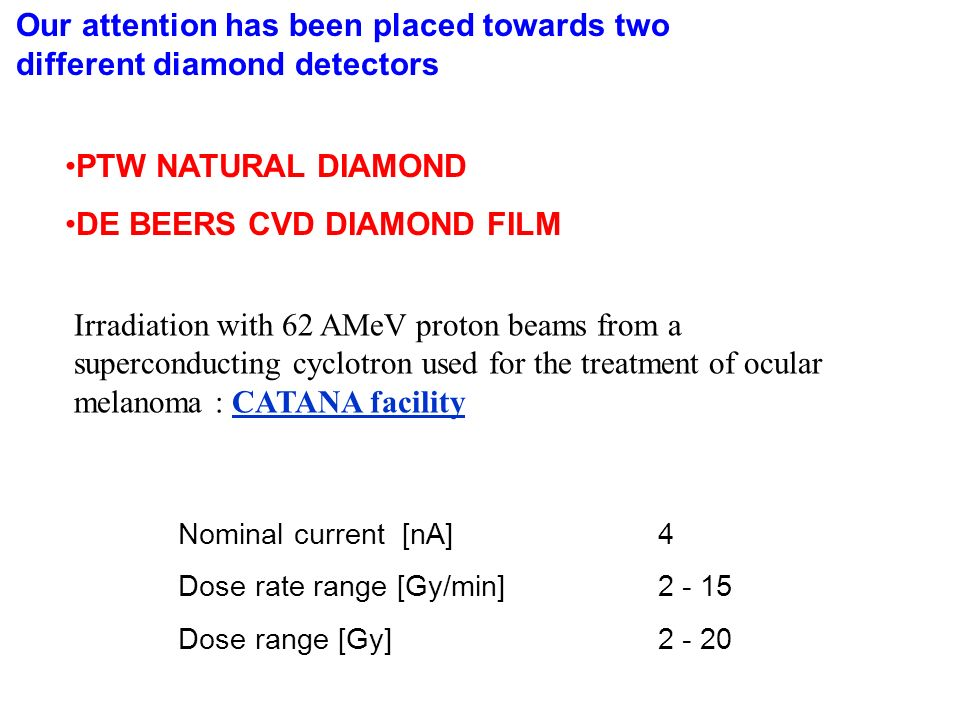 PTW NATURAL DIAMOND DE BEERS CVD DIAMOND FILM Irradiation with 62 AMeV proton beams from a superconducting cyclotron used for the treatment of ocular melanoma : CATANA facilityCATANA facility Nominal current [nA]4 Dose rate range [Gy/min]2 - 15 Dose range [Gy]2 - 20 Our attention has been placed towards two different diamond detectors