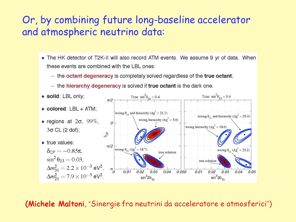 Or, by combining future long-baseline accelerator and atmospheric neutrino data: (Michele Maltoni, Sinergie fra neutrini da acceleratore e atmosferici )