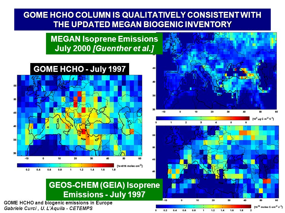 GOME HCHO and biogenic emissions in Europe Gabriele Curci, U.