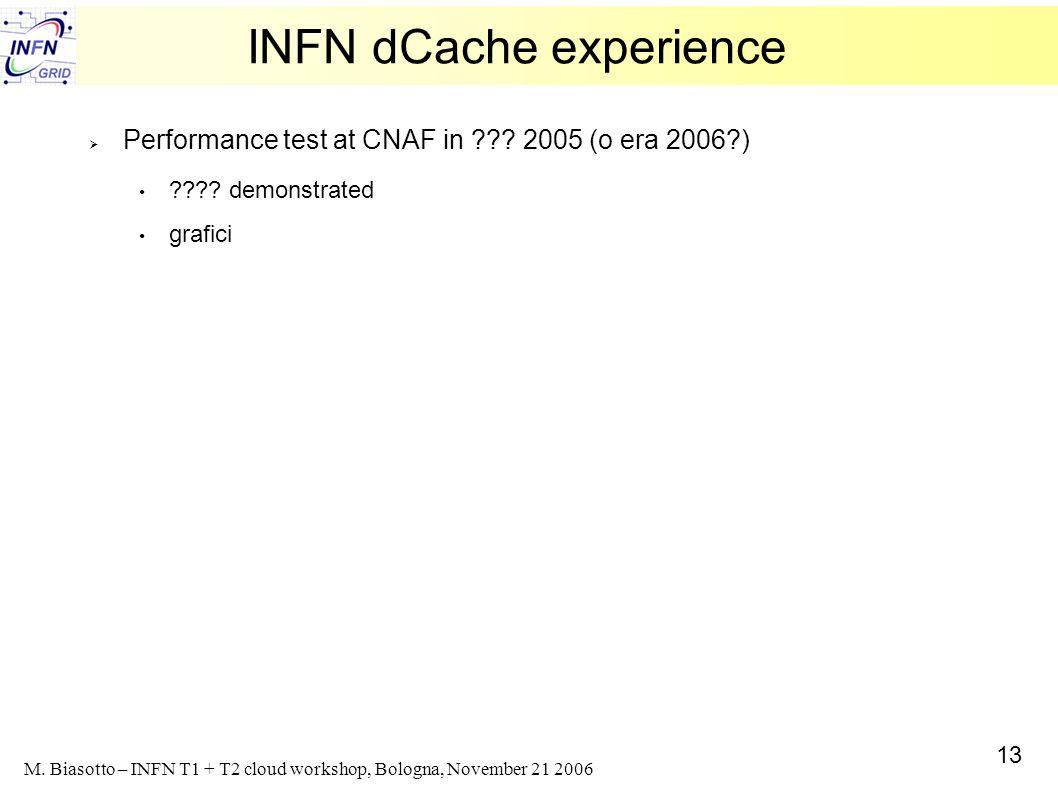 13 M. Biasotto – INFN T1 + T2 cloud workshop, Bologna, November 21 2006 INFN dCache experience Performance test at CNAF in ??? 2005 (o era 2006?) ????