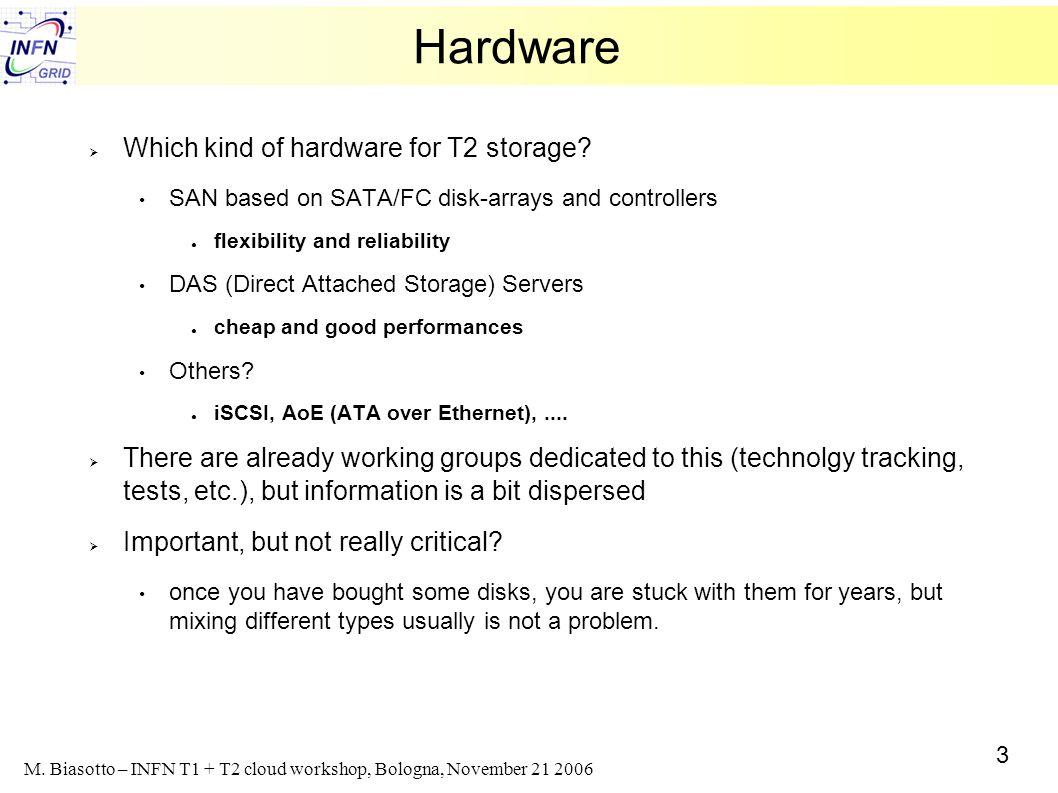 3 M. Biasotto – INFN T1 + T2 cloud workshop, Bologna, November 21 2006 Hardware Which kind of hardware for T2 storage? SAN based on SATA/FC disk-array