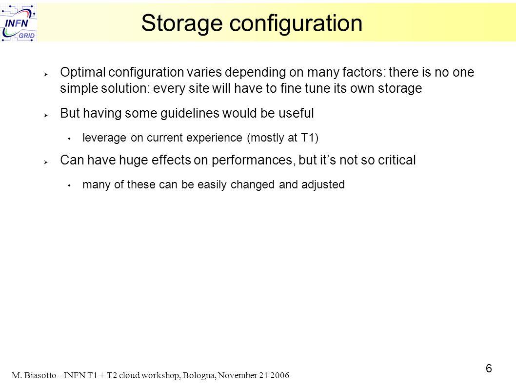 6 M. Biasotto – INFN T1 + T2 cloud workshop, Bologna, November 21 2006 Storage configuration Optimal configuration varies depending on many factors: t
