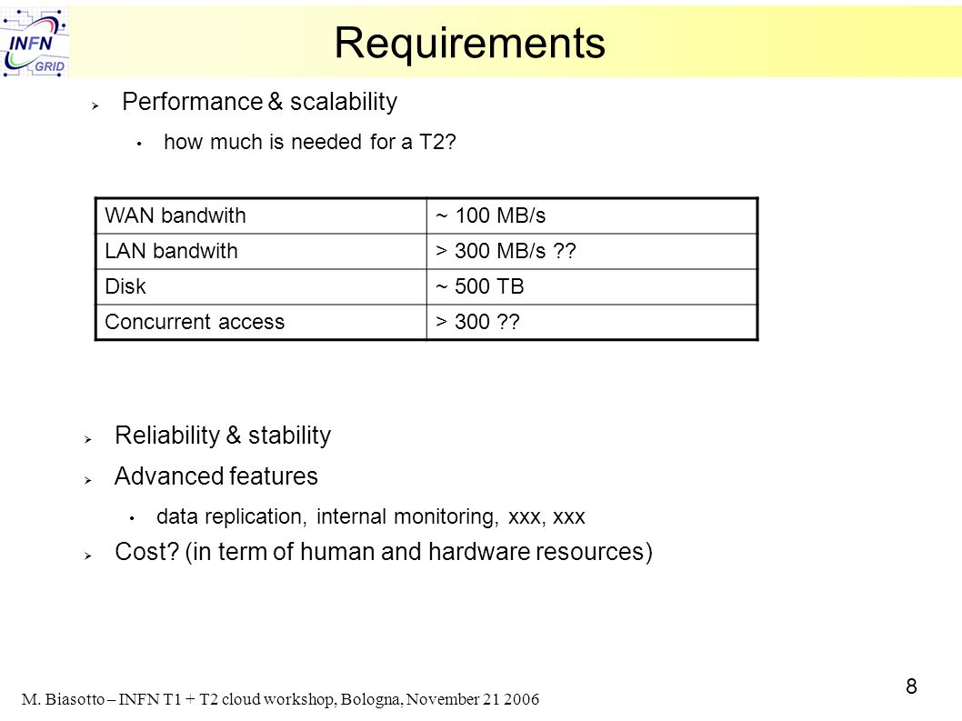 8 M. Biasotto – INFN T1 + T2 cloud workshop, Bologna, November 21 2006 Requirements Performance & scalability how much is needed for a T2? WAN bandwit