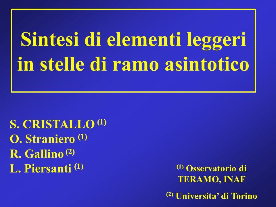 S. CRISTALLO (1) O. Straniero (1) R. Gallino (2) L. Piersanti (1) (1) Osservatorio di TERAMO, INAF (2) Universita di Torino Sintesi di elementi legger