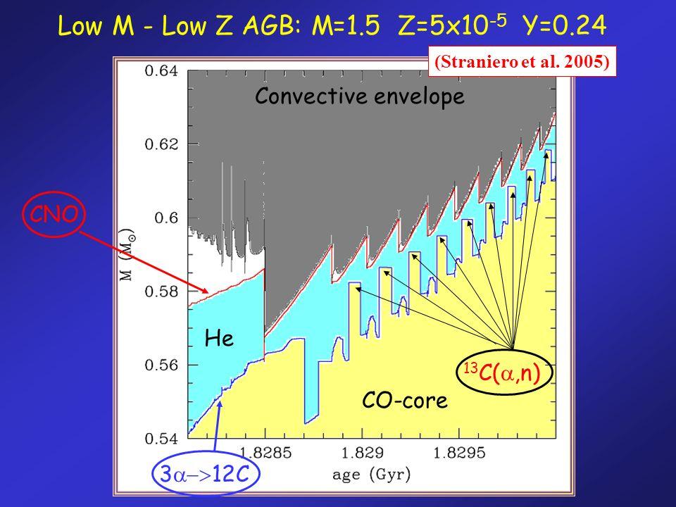 Convective envelope CO-core He Low M - Low Z AGB: M=1.5 Z=5x10 -5 Y=0.24 3 12C CNO 13 C(,n) (Straniero et al. 2005)