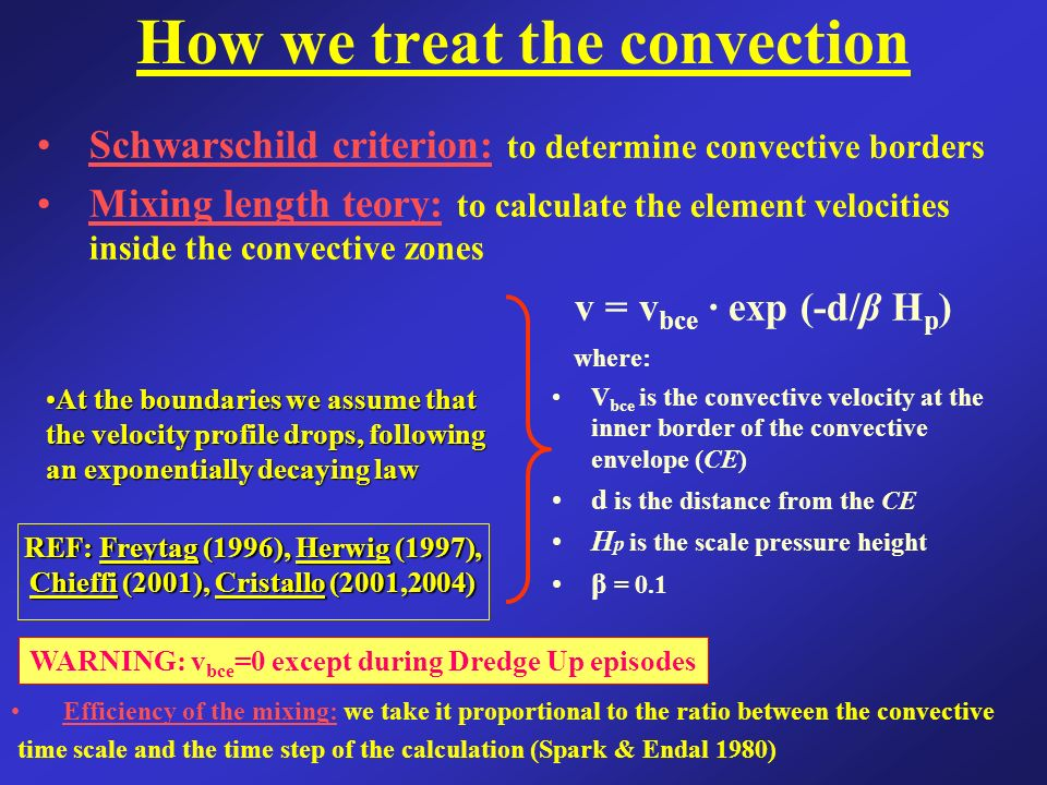 How we treat the convection Schwarschild criterion: to determine convective borders Mixing length teory: to calculate the element velocities inside the convective zones At the boundaries we assume thatAt the boundaries we assume that the velocity profile drops, following an exponentially decaying law v = v bce · exp (-d/β H p ) where: V bce is the convective velocity at the inner border of the convective envelope (CE) d is the distance from the CE H p is the scale pressure height β = 0.1 REF: Freytag (1996), Herwig (1997), Chieffi (2001), Cristallo (2001,2004) WARNING: v bce =0 except during Dredge Up episodes Efficiency of the mixing: we take it proportional to the ratio between the convective time scale and the time step of the calculation (Spark & Endal 1980)