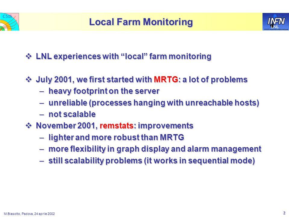 LNL CMS M.Biasotto, Padova, 24 aprile 2002 2 Local Farm Monitoring LNL experiences with local farm monitoring LNL experiences with local farm monitori