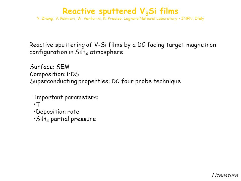 Reactive sputtering of V-Si films by a DC facing target magnetron configuration in SiH 4 atmosphere Surface: SEM Composition: EDS Superconducting properties: DC four probe technique Important parameters: T Deposition rate SiH 4 partial pressure Literature Reactive sputtered V 3 Si films Y.