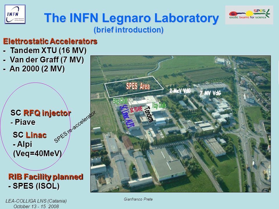 LEA-COLLIGA LNS (Catania) October 13 - 15 2008 Gianfranco Prete The INFN Legnaro Laboratory The INFN Legnaro Laboratory (brief introduction) Elettrostatic Accelerators - Tandem XTU (16 MV) - Van der Graff (7 MV) - An 2000 (2 MV) SC Linac - Alpi (Veq=40MeV) SC RFQ injector - Piave RIB Facility planned - SPES (ISOL) SPES re-accelerator