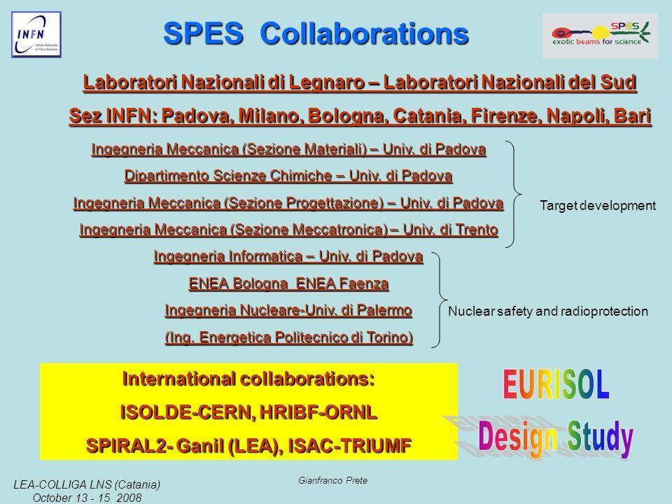 LEA-COLLIGA LNS (Catania) October 13 - 15 2008 Gianfranco Prete Ingegneria Meccanica (Sezione Materiali) – Univ.