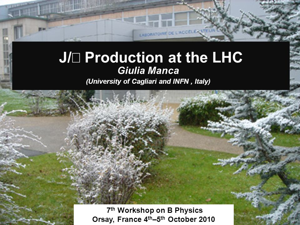 J/ Production at the LHC Giulia Manca (University of Cagliari and INFN, Italy) 7 th Workshop on B Physics Orsay, France 4 th –5 th October 2010