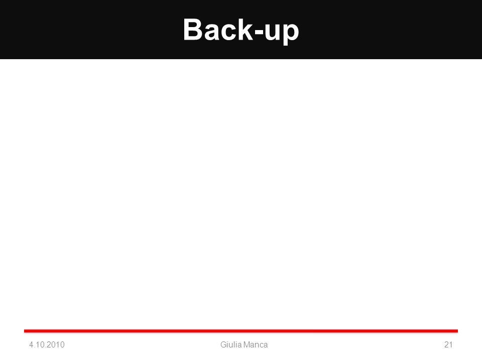 Back-up 4.10.2010Giulia Manca21