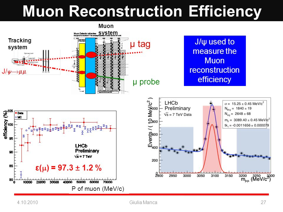 P of muon (MeV/c) Muon Reconstruction Efficiency ε( ) = 97.3 ± 1.2 % Tracking system Muon system J/ µ probe µ tag J/ψ used to measure the Muon reconst