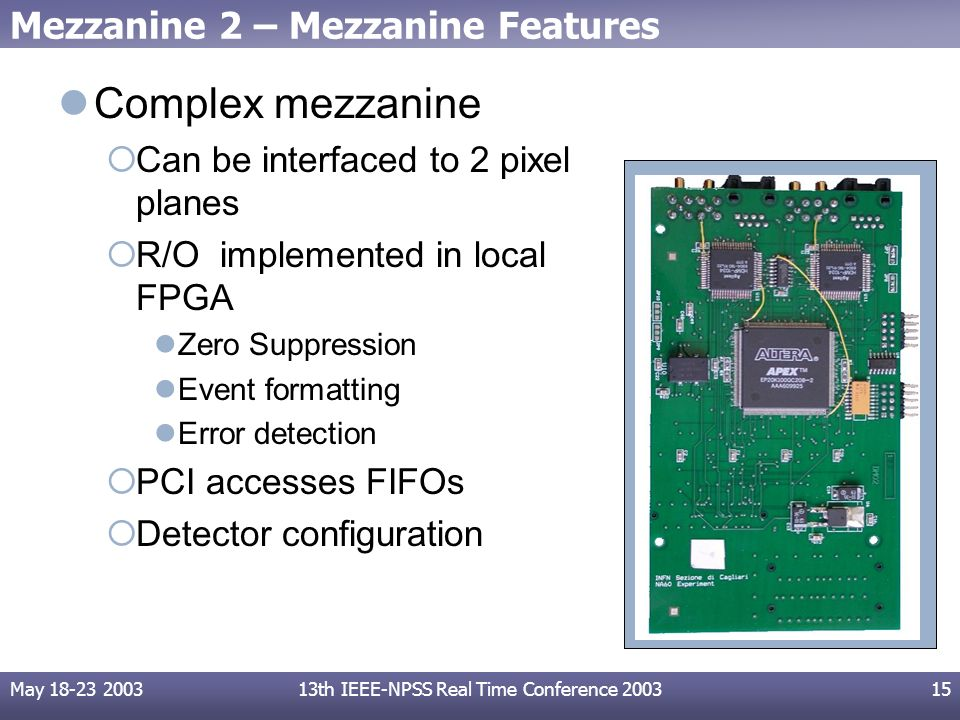 May 18-23 200313th IEEE-NPSS Real Time Conference 200315 Mezzanine 2 – Mezzanine Features Complex mezzanine Can be interfaced to 2 pixel planes R/O implemented in local FPGA Zero Suppression Event formatting Error detection PCI accesses FIFOs Detector configuration