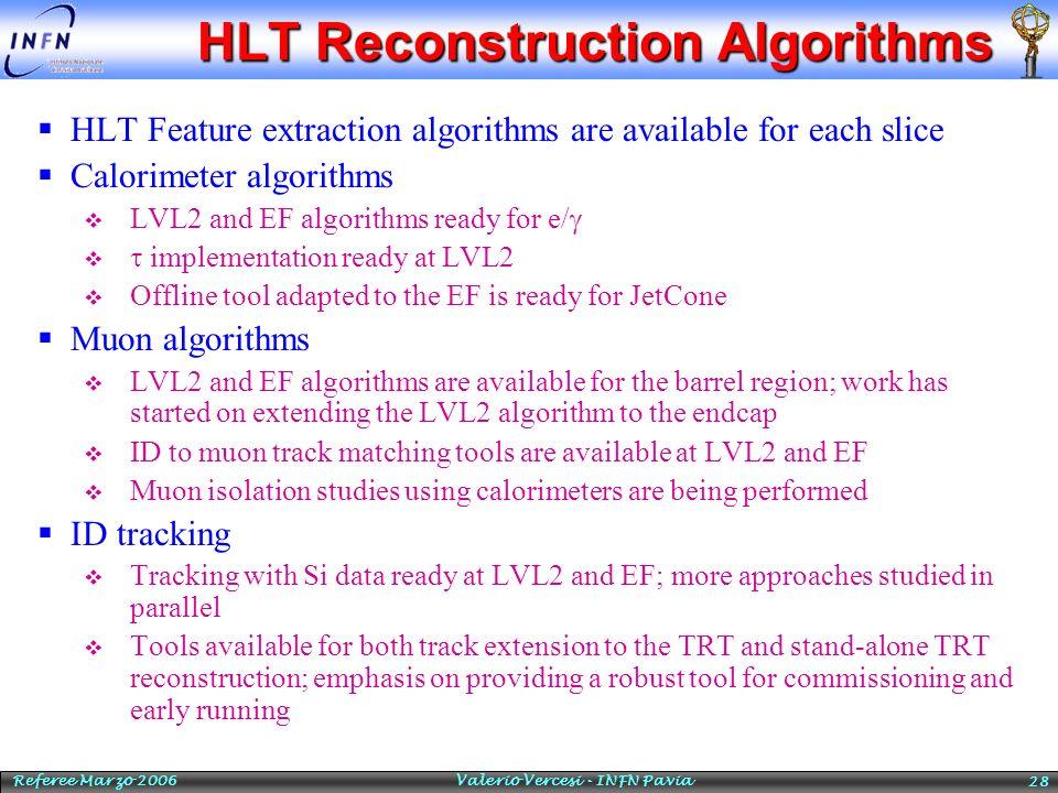 Referee Marzo 2006 Valerio Vercesi - INFN Pavia 28 HLT Reconstruction Algorithms HLT Feature extraction algorithms are available for each slice Calori