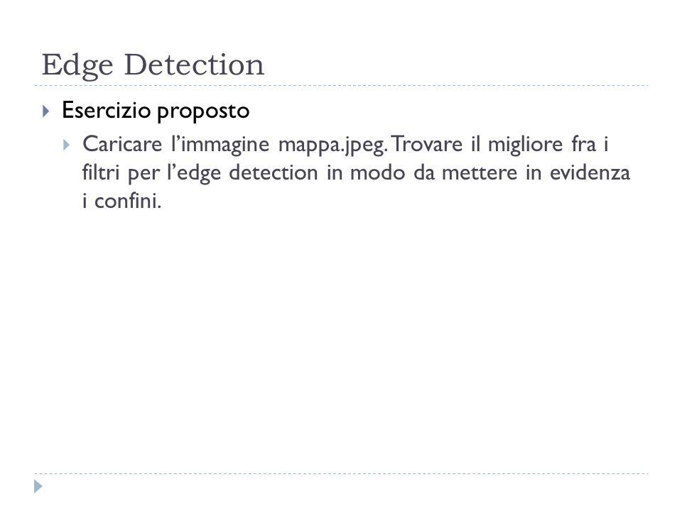 Edge Detection Esercizio proposto Caricare limmagine mappa.jpeg. Trovare il migliore fra i filtri per ledge detection in modo da mettere in evidenza i