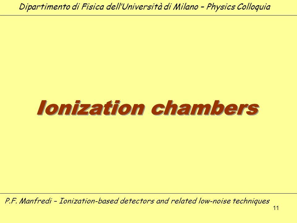 11 Dipartimento di Fisica dellUniversità di Milano – Physics Colloquia P.F. Manfredi – Ionization-based detectors and related low-noise techniques