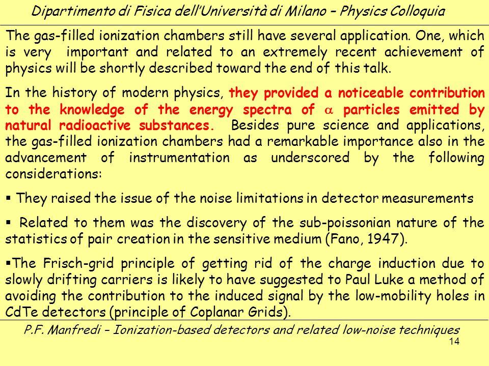14 Dipartimento di Fisica dellUniversità di Milano – Physics Colloquia The gas-filled ionization chambers still have several application. One, which i