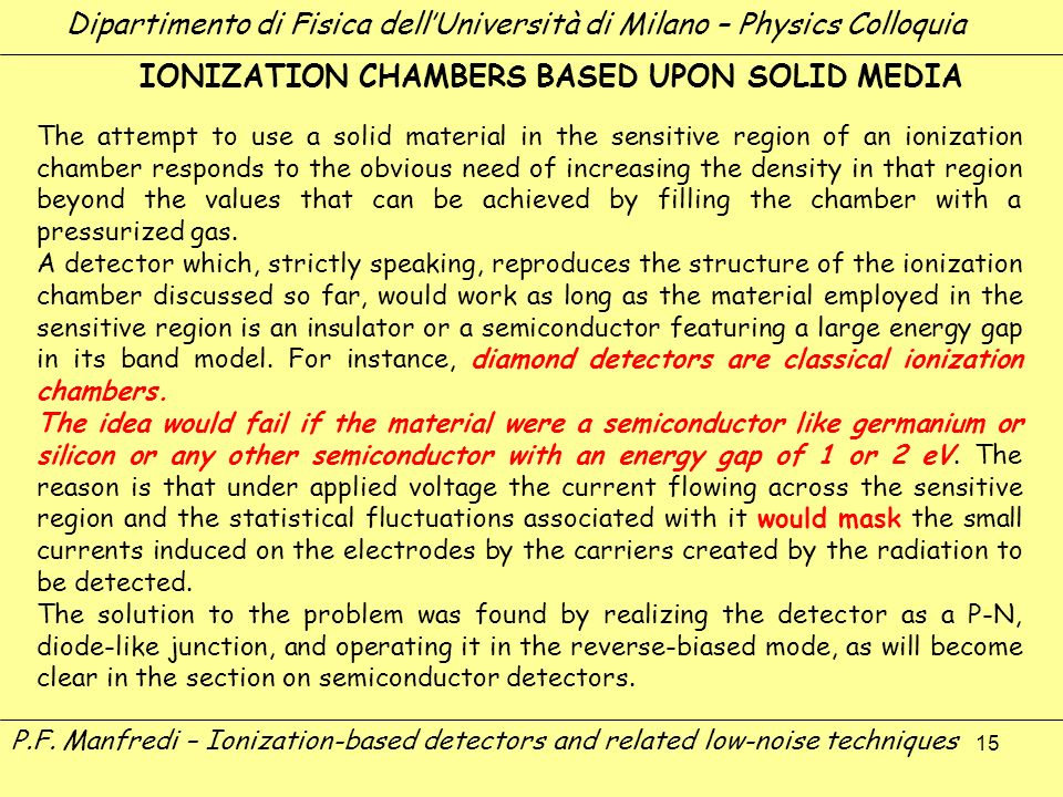15 The attempt to use a solid material in the sensitive region of an ionization chamber responds to the obvious need of increasing the density in that
