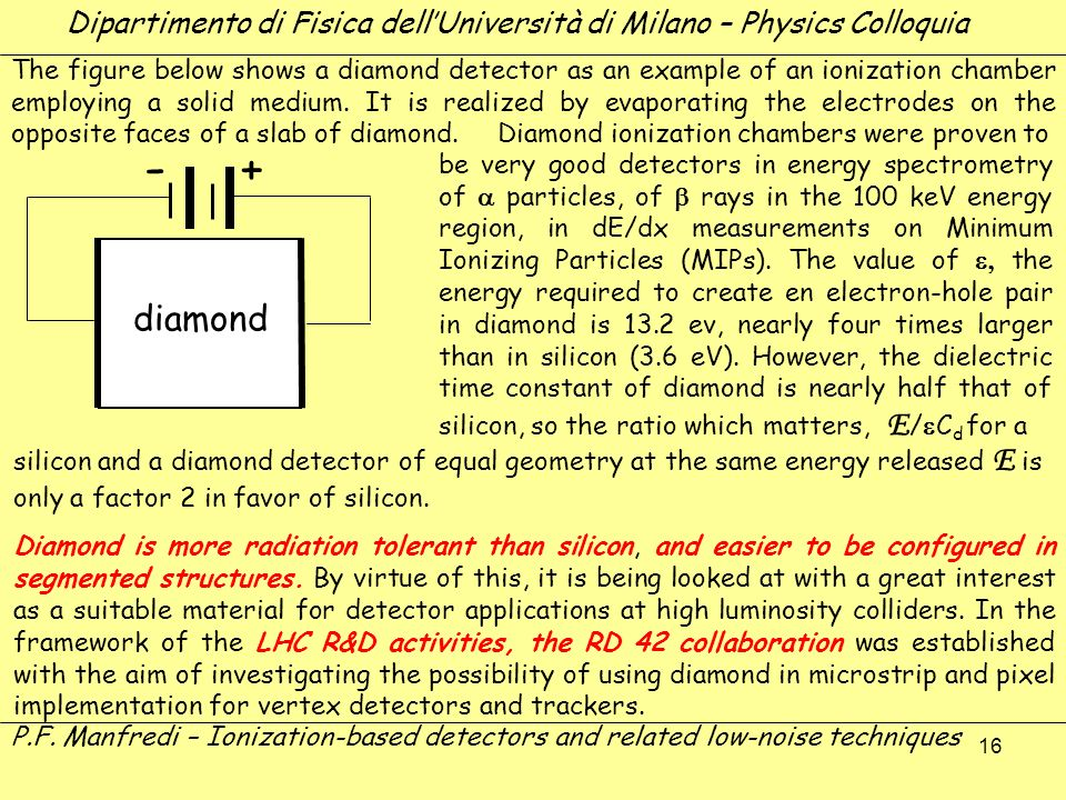 16 diamond The figure below shows a diamond detector as an example of an ionization chamber employing a solid medium. It is realized by evaporating th