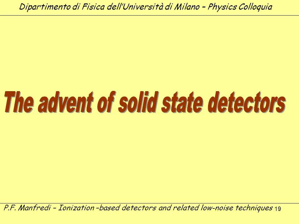 19 Dipartimento di Fisica dellUniversità di Milano – Physics Colloquia P.F. Manfredi – Ionization –based detectors and related low-noise techniques