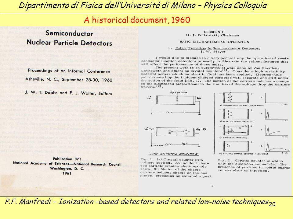 20 Dipartimento di Fisica dellUniversità di Milano – Physics Colloquia P.F. Manfredi – Ionization –based detectors and related low-noise techniques A