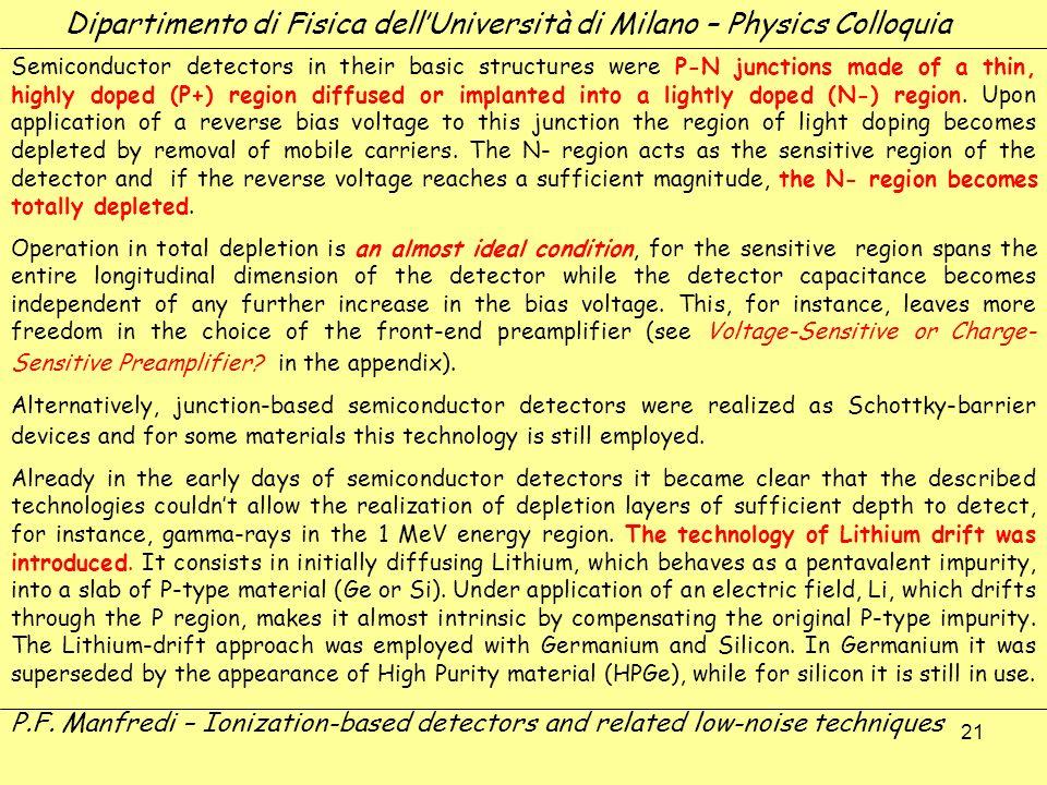 21 Dipartimento di Fisica dellUniversità di Milano – Physics Colloquia P.F. Manfredi – Ionization-based detectors and related low-noise techniques Sem