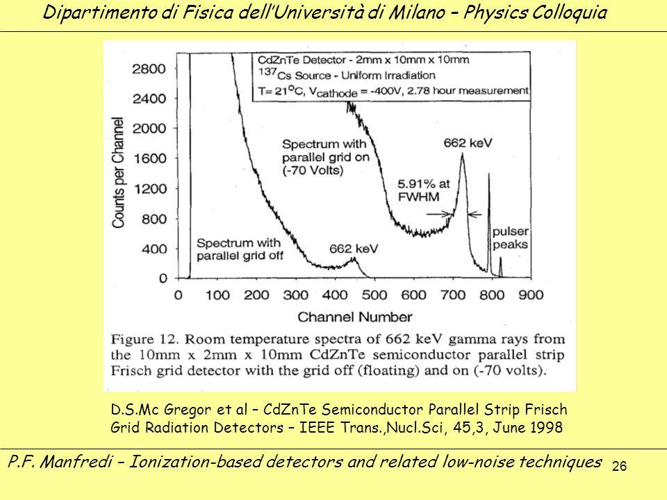 26 P.F. Manfredi – Ionization-based detectors and related low-noise techniques Dipartimento di Fisica dellUniversità di Milano – Physics Colloquia D.S