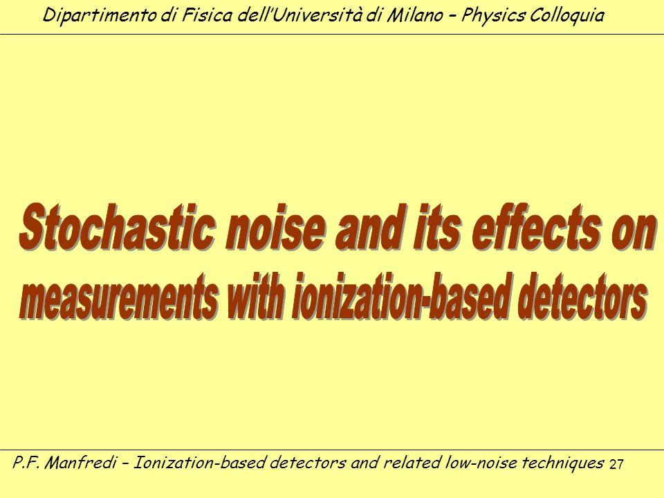27 Dipartimento di Fisica dellUniversità di Milano – Physics Colloquia P.F. Manfredi – Ionization-based detectors and related low-noise techniques