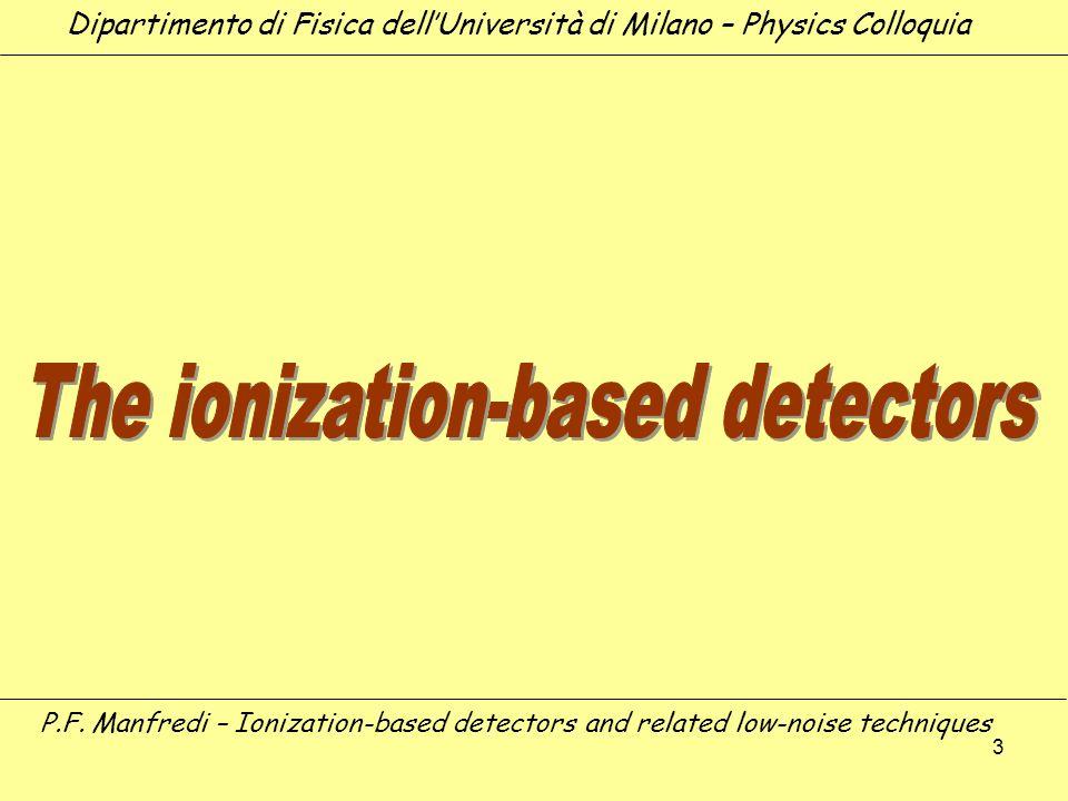 3 Dipartimento di Fisica dellUniversità di Milano – Physics Colloquia P.F. Manfredi – Ionization-based detectors and related low-noise techniques