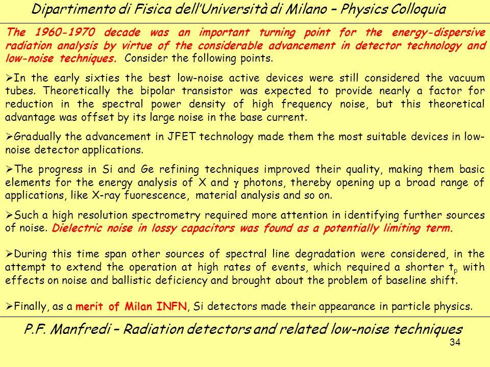 34 Dipartimento di Fisica dellUniversità di Milano – Physics Colloquia P.F. Manfredi – Radiation detectors and related low-noise techniques The 1960-1
