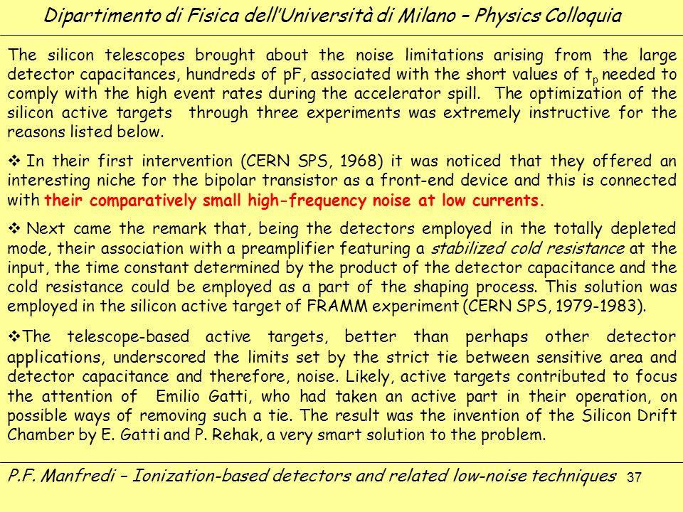 37 Dipartimento di Fisica dellUniversità di Milano – Physics Colloquia P.F. Manfredi – Ionization-based detectors and related low-noise techniques The