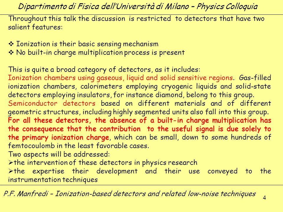 4 Dipartimento di Fisica dellUniversità di Milano – Physics Colloquia P.F. Manfredi – Ionization-based detectors and related low-noise techniques Thro