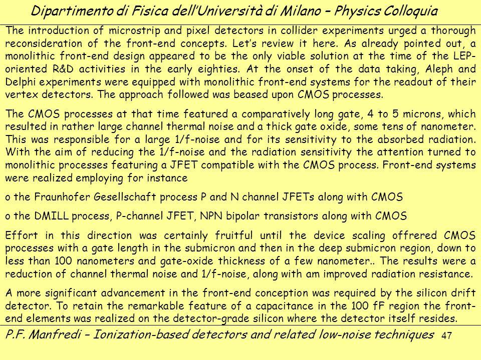 47 Dipartimento di Fisica dellUniversità di Milano – Physics Colloquia P.F. Manfredi – Ionization-based detectors and related low-noise techniques The