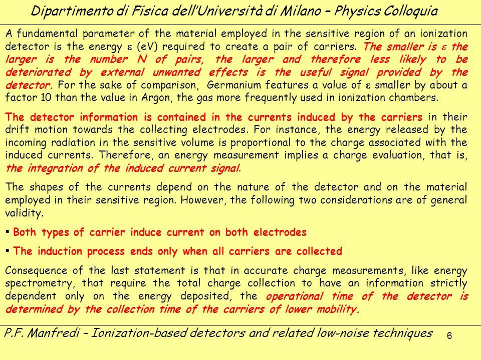 6 Dipartimento di Fisica dellUniversità di Milano – Physics Colloquia P.F. Manfredi – Ionization-based detectors and related low-noise techniques A fu