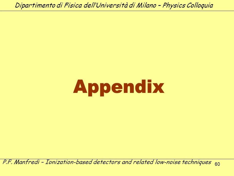 60 Dipartimento di Fisica dellUniversità di Milano – Physics Colloquia P.F. Manfredi – Ionization-based detectors and related low-noise techniques