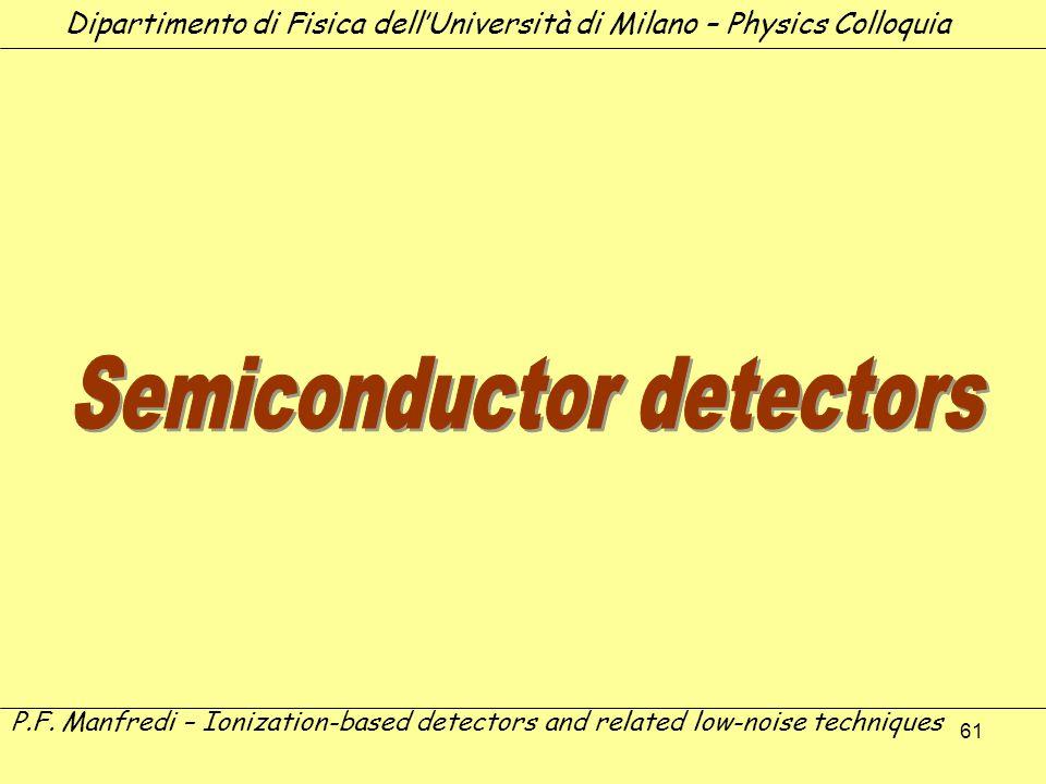 61 Dipartimento di Fisica dellUniversità di Milano – Physics Colloquia P.F. Manfredi – Ionization-based detectors and related low-noise techniques