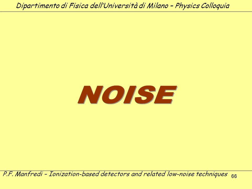 66 Dipartimento di Fisica dellUniversità di Milano – Physics Colloquia P.F. Manfredi – Ionization-based detectors and related low-noise techniques
