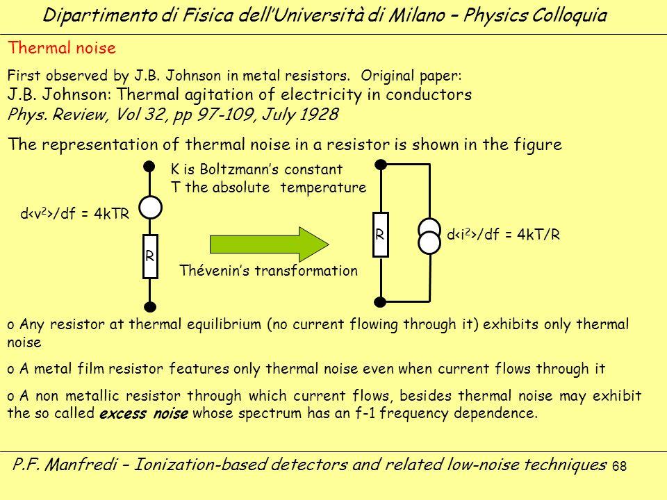 68 Dipartimento di Fisica dellUniversità di Milano – Physics Colloquia P.F. Manfredi – Ionization-based detectors and related low-noise techniques The