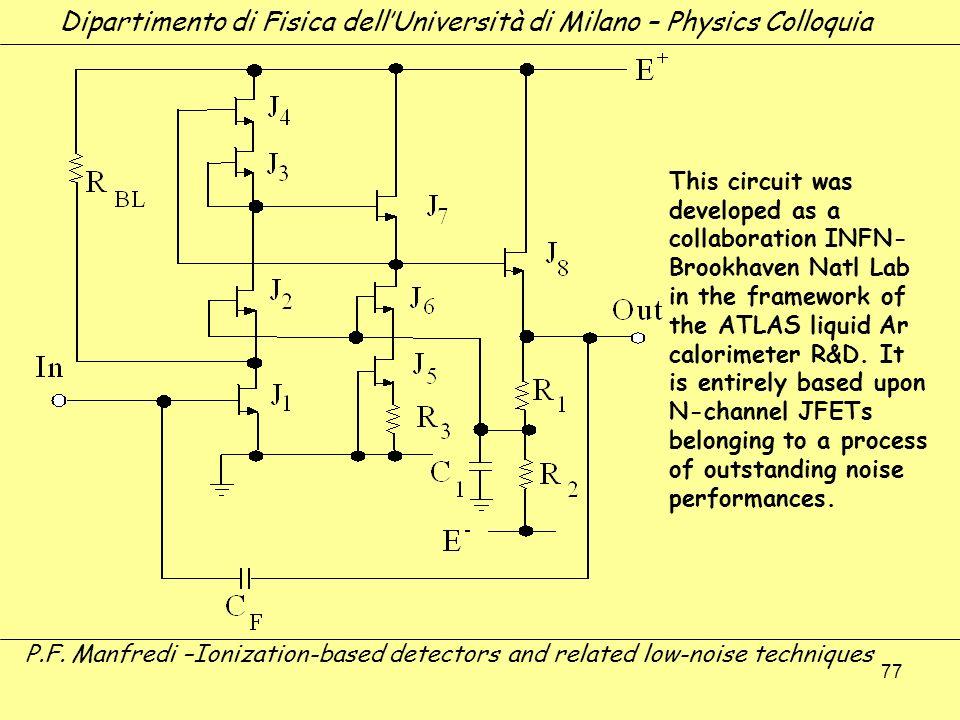 77 Dipartimento di Fisica dellUniversità di Milano – Physics Colloquia P.F. Manfredi –Ionization-based detectors and related low-noise techniques This