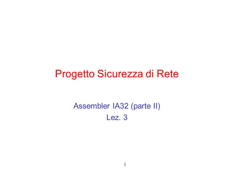 1 Progetto Sicurezza di Rete Assembler IA32 (parte II) Lez. 3