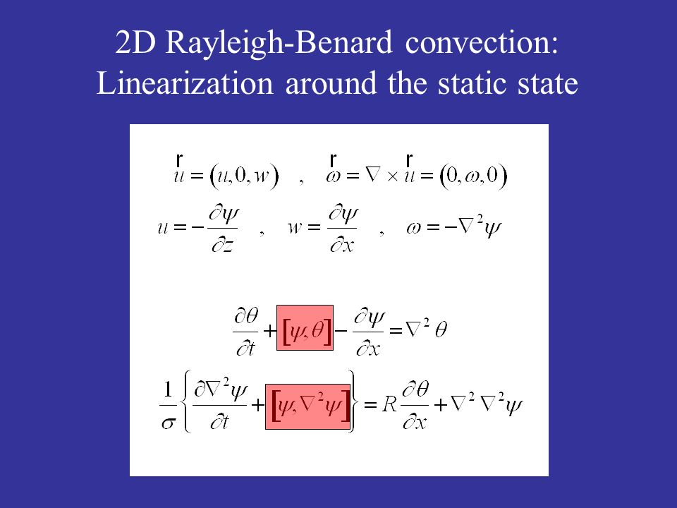2D Rayleigh-Benard convection: Linearization around the static state