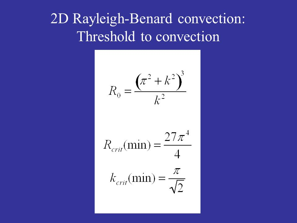 2D Rayleigh-Benard convection: Threshold to convection
